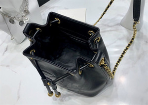 Cow leather backpack style classic women brand handbag bucket bag chain shoulder bag large capacity lady drawstring pouch