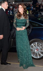Elegant Kate Middleton Dark Green Full Lace Evening Dresses Illusion Long Sleeves A Line Prom Party Wear For Women Celebrity Gown New 2021