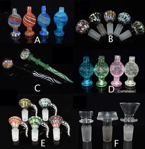 Colore UV Bubble Cap Berball Ball Glass Caps Luminoso Quarzo Banger Unghie per il bordo smussato Cyclone Spinning Caps Carb Caps Vetro Bongs Tubo DAB Pan