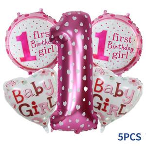 5 piezas bebé 1er cumpleaños globos conjunto rosa azul número de lámina globos de cumpleaños decoraciones de la fiesta de cumpleaños para niños Fiesta de decoración Suministros