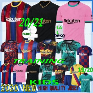 Thai 20/21 Messi 6 Xavi Camisas de futebol 10 Messi 17 Griezmann Jerseys 9 Suarez Pique F. De Jong Uniformes Retro Homens + Kits Kits Football Shirt