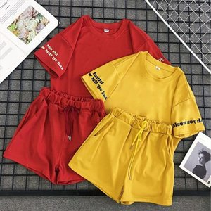 Women 2 Pieces Set Summer Suit Casual Loose Letter Print Tees Top Drawstring Shorts Red Yellow Set Fashion Women Sets