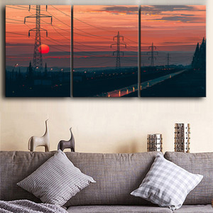 Wall Artwork Canvas Paintings 3 Pieces Wire Sunset Scenery Pictures Hd Prints Home Decor Poster For Living Room Modular Painting