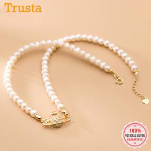 Trustdavis auténtica joyería 925 de plata esterlina precioso collar de perlas planeta colgante para las mujeres cumpleaños de la boda S925 DA1978 Q1113