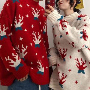 2020 camisola do Natal Casais solto pulôver manga comprida Casual Outono Inverno Malhas coreana Jumper roupas tamanho Red Top