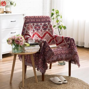 Multifunction Blanket Red Geometry Tassel Sofa Chair Cover Wall Tapestry 130*180cm 170*220cm Floor Carpet Bedspread Home Textile