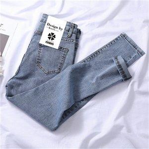 Yeni Skinny Kot Kadın Yüksek Bel Gri Mavi Kore Moda Denim Kalem Pantolon Yaz Yüksek Elastik Jean Kadın 201030