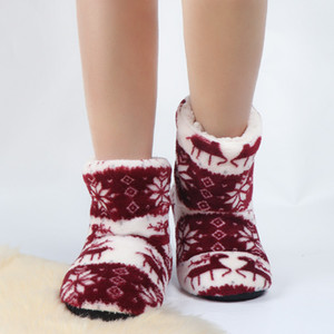 2021 Winter Floor Shoes Woman House Slippers Christmas Elk Indoor Socks Shoes Warm Fur Contton Slipper Plush Insole Anti-Skid Sole