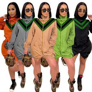 Women's windbreaker European and American fashion light luxury large V-neck stitching high-neck windbreaker jacket Original overall