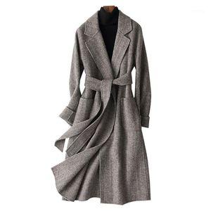 Autumn Winter Double Faced Wool Blends Women's Long Slim V Neck Belt Office Lady Woolen Jackets Coats Plus Size1