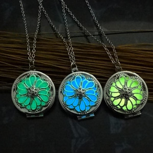 Glow in the Dark Locket Jewelry with Silver Plated Flower Shaped Choker Long Pendant Necklace for Women Party Gift