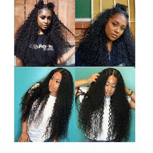 Deep Curly Lace Wigs Pre Plucked With Baby Hair Natural Black Remy Lace Front Human Hair Wigs For Women