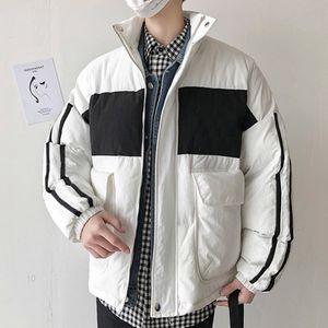 acolchado informal estilo medio de contraste con capucha Ropa para hombre del diseñador del color de algodón acolchado ropa cremallera de la manera Coats EEY9CLA