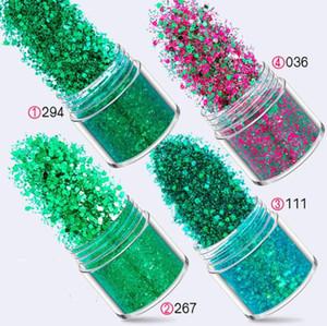 4 زجاجات / حزمة 10 ملليلتر 24 ألوان مجول مسحوق مسمار بريق رذاذ للعين الوجه الجسم الأخضر لامع مسحوق بريق