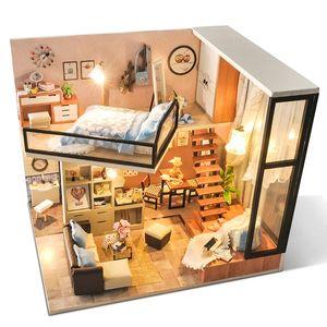 Cutebee DIY Muñeca Casa Muñeca de madera Casas de muñecas Miniatura Casa de muñecas Muebles Juguetes para niños Regalo de Navidad TD16 Y200413