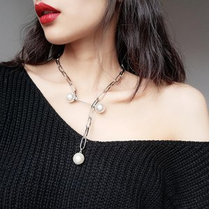 2020 Fashion Link Chain Big Simulated Pearl Pendant Necklace Retro New Alloy Adjustable Length Choker Necklace for Women