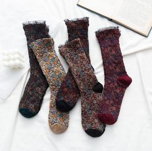 Designer Feminino Pérola Senhora Floral Estilo Meias Vintage meias Womens rendas de algodão respirável Esporte Socks longa Cartão de seda meias 5 Estilos BWC2622