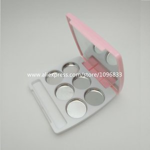 30pcs Lot, 6 Grids Pink Eyeshadow Case Empty Pressed Lipstick Pallet Case with Mirror Cosmetic Container Square Compact