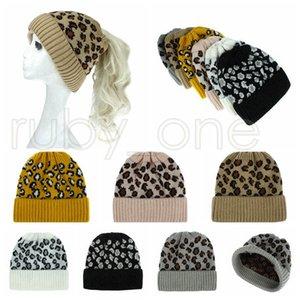 Kadınlar Leopard Örme at kuyruğu Moda Criss çapraz at kuyruğu Beanie Kış Sıcak Yün Casual Örgü Şapka Parti Şapkası Tedarik RRA3649 Caps