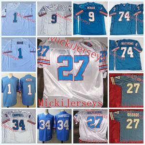 NCAA Tennessee Oilers Vintage 34 Earl Campbell Jersey # 9 Steve McNair 74 Bruce Matthews 1 Warren Moon 27 Eddie George Oilers Football Jersey