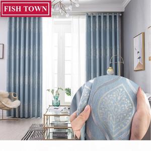 FISH TOWN Europäische Damastvorhänge für Wohnzimmer Jacquard Blinde Vorhänge Vorhang für Schlafzimmer 70% Shading nach Maß