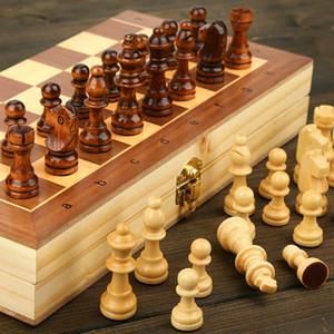 Jeu d'échecs magnétique pliant en bois avec Felted Plateau de jeu intérieur pour le stockage des adultes Enfants Débutant Grand Échiquier
