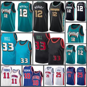 2021 Yeni Grant 33 Hill Ja 12 Ahurant Isiah Basketbol Jersey Thomas Dennis 10 Derrick 11 Rodman Gül Formalar