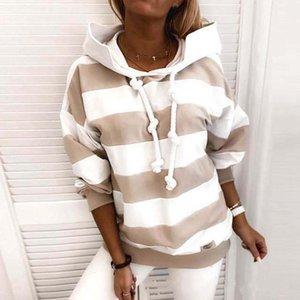 Stripe Hooded Winter Women Thick Hoodie Long Sleeve Sweatshirt Hip Hop Harajuku Street Pocket Cool All-Match Cheap Loose Clothes