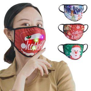 Christmas Lighting Face Mask LED Santa Snowman Tree Print Glowing Mask Christmas Party Face Masks 11style HHA1631