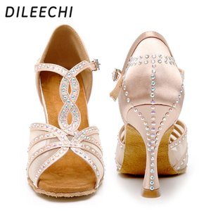 Dança Latina Sapatos Mulheres partido sapatos de dança de cetim de malha brilhando strass Salsa Sapatos de dança sandálias 9 centímetros calcanhar cubano