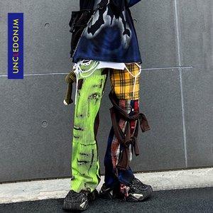 UNCLEDONJM Hip Hop Plaid Pants Men Ins Irregular Casual Pants Patchwork Pants Fashion Streetwear Trousers t2-a002 Q1110