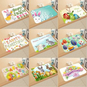 Happy Easter Rug Rabbit Egg Printing Flannel Suede Bathroom Doormat 40*60cm Bunny Bathroom Non-slip Mat 13 Styles GWD4331