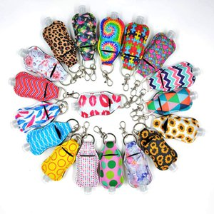 Neoprene Hand Sanitizer Bottle Holder Keychain Bags With 30ML Alcohol Bottles Key Rings Hand Soap Bottle Holder GWA3304