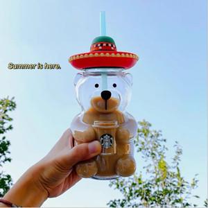 500ml- 600ml Starbucks Bear Tocks avec paille latin latin de style mignon de boisson fraîche en forme de verre froid