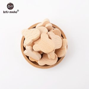 Let's make BPA Free 50pcs Natural Wood Bears Can Chew Beads Jewelry Making Beech Wooden Teether DIY Dummy Clip Baby Teethers 201017