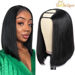 Großhandel u Teil Bob Menschliche Haarperücken für schwarze Frauen 150 Dichte Full Machine machte kurz u Teil Perücke Remy Haare