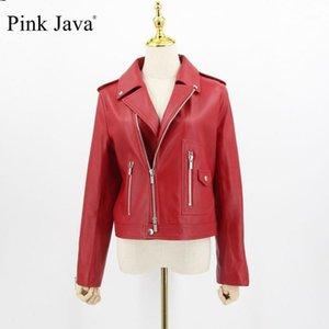 Java Pink Java QC20006 Chaquetas de cuero Abrigo de mujeres Vestido de moda de cuero de oveja real Equipo genuino1
