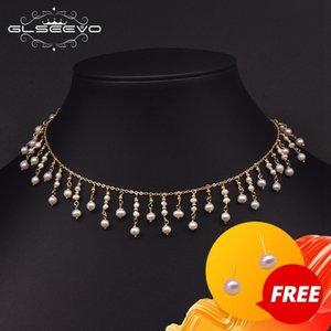 GLSEEVO Natural Fresh Water Pearl Choker Necklace For Women Original Design Handmade Tassel Necklace Luxury Fine Jewelry GN0224 201123
