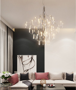 Modern minimalist crystal chandelier lights living room personality art chandelier lighting led stainless steel chrome pendant lamps