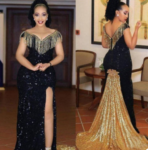 Luxury Black And Gold Evening Dresses Sexy High Split Prom Dresses Bling Sequins Beading Robe De Soirée Cocktail Party Gown Custom Made