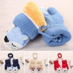 Cartoon Fox Baby Mittens Winter Warm Kids Baby Girl Gloves Knitted Children Toddler Teething Mitten Handschoen gloves for children