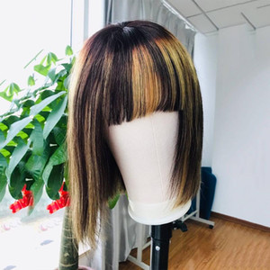 Ombre Highlight Color Short Bob Wig Human Hair Wigs fringe wig with bangs for Women Brazilian Remy Hair 4x4 Lace Closure