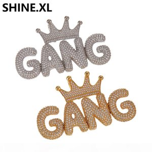 Iced Out Custom Crown Small Bubble Letter Pendant Necklace Micro Paved Zircon Men Hip Hop Bling Jewelry Gift