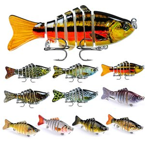 10PCS Lot Fishing Lures 7 Segment Fish Crankbaits Bass Minnow Crank Multi Jointed Baits Swimbait Tackle with Hook