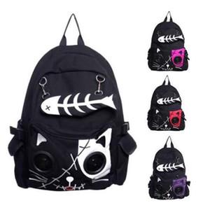 Speaker Bag KIT animal do gato Mochila Backpack Emo Gothic plug PLAY FISH Meninos Osso Meninas do presente 201013