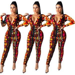 Femmes Designer Vêtements Sexy Deep V-Col Col Couleur Léopard Print Plissé Jumpsuit Fashion Manches Longues Jumpsuit Collants Dames Rompeurs CZ103002