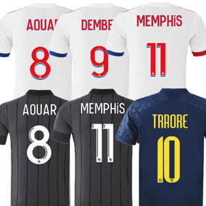20 21 21 Olympique Lyonnais Soccer Jersey Home White رقم 9 Dembele # 11 Membele 20/21 الرجال بعيدا أسود رمادي كرة القدم قمصان كرة القدم