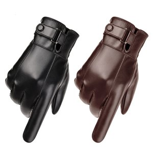 New Fashion Business Mens Black and Borwn Leather Gloves Thickened Keep Warm Waterproof Driving Screen Touch Gloves
