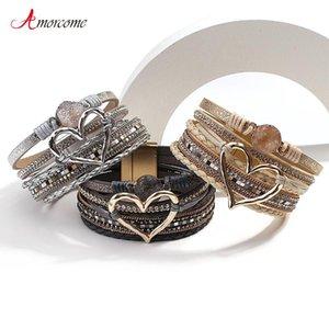 Amorcomo de moda trenzado envoltura de cuero brazaletes multicapa resina piedra hueco corazón encanto pulseras mujeres regalo pulseira