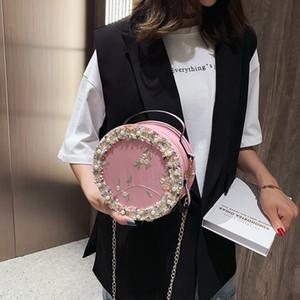 2019 نساء جولة الرباط زهرة مصمم CROSSBODY حقيبة جلدية PU حقائب الكتف الأبيض حقائب السيدات الصغيرة أنثى مصغر حمل حقيبة C1019
